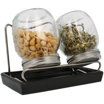 Eschenfelder Sprossenglas-System mit 2 Gläsern und schwarzer Schale