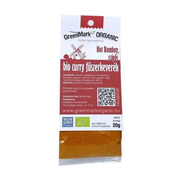 Bio Curry fűszerkeverék, Hot Bombay, csípős (Greenmark) 20g